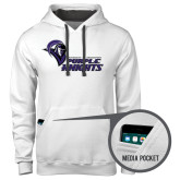 Contemporary Sofspun White Hoodie-Purple Knights Stacked w/ Knight Head