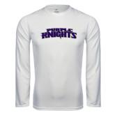 Performance White Longsleeve Shirt-Purple Knights