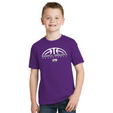 Youth Purple T Shirt-Basketball Half Ball Design