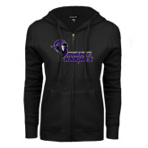 ENZA Ladies Black Fleece Full Zip Hoodie-Purple Knights Stacked w/ Knight Head