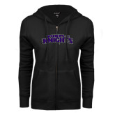 ENZA Ladies Black Fleece Full Zip Hoodie-Purple Knights