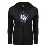 ENZA Ladies Black Fleece Full Zip Hoodie-UB Shield