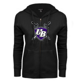 ENZA Ladies Black Fleece Full Zip Hoodie-UB Shield w/ Swords