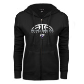 ENZA Ladies Black Fleece Full Zip Hoodie-Basketball Half Ball Design