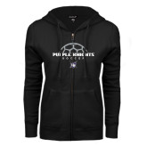ENZA Ladies Black Fleece Full Zip Hoodie-Soccer Half Ball Design