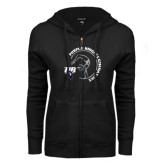ENZA Ladies Black Fleece Full Zip Hoodie-Gymnastics Circle Design