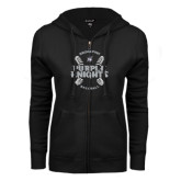 ENZA Ladies Black Fleece Full Zip Hoodie-Baseball Ball Design