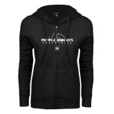 ENZA Ladies Black Fleece Full Zip Hoodie-Volleyball Ball Design