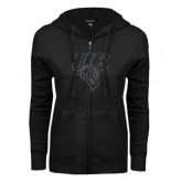 ENZA Ladies Black Fleece Full Zip Hoodie-Primary Mark Glitter