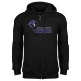 Black Fleece Full Zip Hoodie-Purple Knights Stacked w/ Knight Head