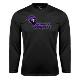 Performance Black Longsleeve Shirt-Purple Knights Stacked w/ Knight Head