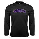 Performance Black Longsleeve Shirt-Purple Knights