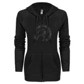 ENZA Ladies Black Light Weight Fleece Full Zip Hoodie-Gymnastics Circle Design Glitter