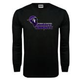 Black Long Sleeve TShirt-Purple Knights Stacked w/ Knight Head