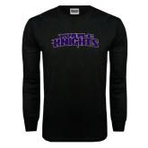 Black Long Sleeve TShirt-Purple Knights