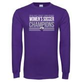 Purple Long Sleeve T Shirt-2018 ECC Womens Soccer Champions