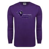 Purple Long Sleeve T Shirt-Purple Knights Stacked w/ Knight Head