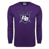 Purple Long Sleeve T Shirt-UB Shield w/ Swords