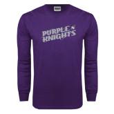 Purple Long Sleeve T Shirt-Purple Knights Slanted