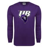 Purple Long Sleeve T Shirt-Primary Mark Distressed