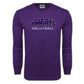 Purple Long Sleeve T Shirt-Volleyball