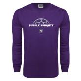 Purple Long Sleeve T Shirt-Soccer Half Ball Design