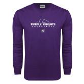 Purple Long Sleeve T Shirt-Volleyball Ball Design