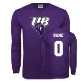 Purple Long Sleeve T Shirt-Primary Mark, Custom Tee w/ Name and #