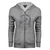 ENZA Ladies Grey Fleece Full Zip Hoodie-Gymnastics Circle Design Glitter