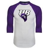 White/Purple Raglan Baseball T Shirt-Primary Mark