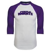 White/Purple Raglan Baseball T Shirt-Purple Knights