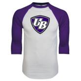 White/Purple Raglan Baseball T Shirt-UB Shield
