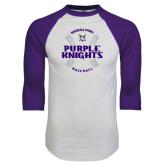 White/Purple Raglan Baseball T Shirt-Baseball Ball Design