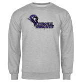 Grey Fleece Crew-Purple Knights Stacked w/ Knight Head