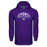Under Armour Purple Performance Sweats Team Hoodie-Basketball Half Ball Design