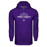 Under Armour Purple Performance Sweats Team Hoodie-Soccer Half Ball Design