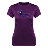 Ladies Syntrel Performance Purple Tee-Purple Knights Stacked w/ Knight Head