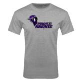 Grey T Shirt-Purple Knights Stacked w/ Knight Head
