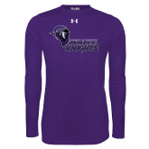 Under Armour Purple Long Sleeve Tech Tee-Purple Knights Stacked w/ Knight Head