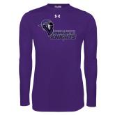 Under Armour Purple Long Sleeve Tech Tee-Purple Knights Stacked w/ Knight Head