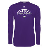 Under Armour Purple Long Sleeve Tech Tee-Basketball Half Ball Design