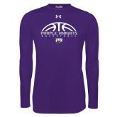 Under Armour Purple Long Sleeve Tech Tee-Basketball Half Ball Design