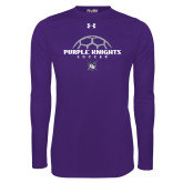 Under Armour Purple Long Sleeve Tech Tee-Soccer Half Ball Design