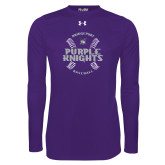 Under Armour Purple Long Sleeve Tech Tee-Baseball Ball Design