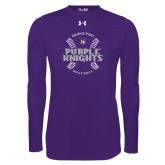 Under Armour Purple Long Sleeve Tech Tee-Baseball Ball Design
