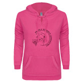ENZA Ladies Hot Pink V Notch Raw Edge Fleece Hoodie-Gymnastics Circle Design Glitter