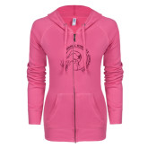 ENZA Ladies Hot Pink Light Weight Fleece Full Zip Hoodie-Gymnastics Circle Design Glitter