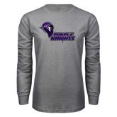 Grey Long Sleeve T Shirt-Purple Knights Stacked w/ Knight Head