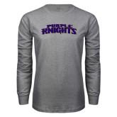 Grey Long Sleeve T Shirt-Purple Knights