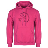 Fuchsia Fleece Hoodie-Gymnastics Circle Design Glitter